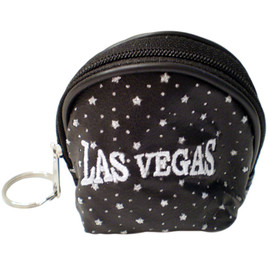 Black Domed Coin Purse with shiny specks all over it and a large White embroidered Las Vegas on the front, round pull zipper.