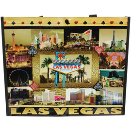 Brown and Gold Tones background tote bag shows collage pics of various Vegas Scenes.