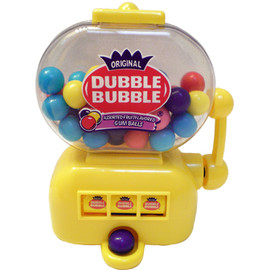 Bright Yellow Slot Machine Shapped bubble gum dispenser.