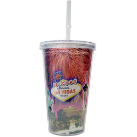 Clear Plastic Tumbler with Straw, screw top lid, and our Fireworks Las Vegas Sign design on it.