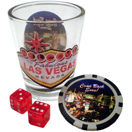 Glass Las Vegas shotglass with front design that looks like the Las Vegas Welcome Sign, a design on the back that shows the casinos. It also comes with a pair of red mini dice, and a Las Vegas non-monetary poker chip.