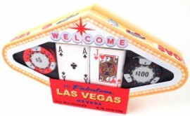 Las Vegas Sign Shape box with see thru window showing chocolate poker chips and chocolate playing cards.