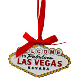 Metal Las Vegas Welcome Sign Shape ornament with a Red Ribbon.