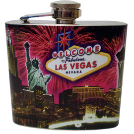 Metal Flask with bold Fireworks exploding over a scene of the Las Vegas Strip.