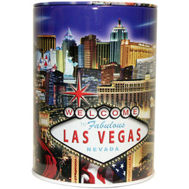 Tin bank in cylinder shape with colorful blue background and Las Vegas Strip design.