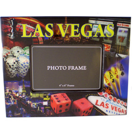WOOD LAQUER large frame showcases Popular Las Vegas Gaming Icons on the edges.