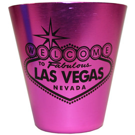 This Pink Stainless Steel Las Vegas Shotglass has a Black Printed Welcome to Las Vegas Sign design on the front.