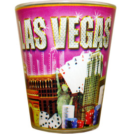 Glass Las Vegas shotglass with a design wrap in the middle which has our Pink Diamonds design all over it.