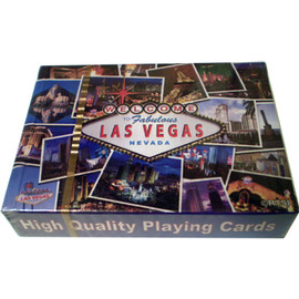 "Playing Cards box shows the design on the cards themselves. This design is a ""postcard"" background with a colorful and different pictures of Las Vegas all over them."
