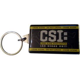 Metal Rectangle key chain with CSI Las Vegas on it.
