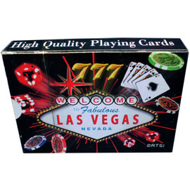 Playing Cards box shows the design on the cards themselves. This design is a black background with a colorful welcome to LV sign and gaming icons Exploding all over them.