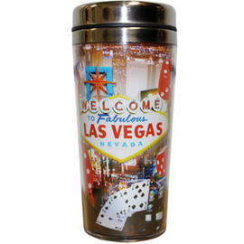 Stainless Steel Sleek Travel Mug which has a Red Dice Design all over it. Showcases Vegas Welcome sign and Icons such as Red Dice all over it.