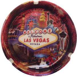 Ceramic Las Vegas Fireworks design ashtray. City scene background with fireworks bursting overhead.