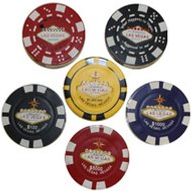 Displayed multiple Poker Chip look alike lighters. Each in its respective color, red, blue, black, etc.