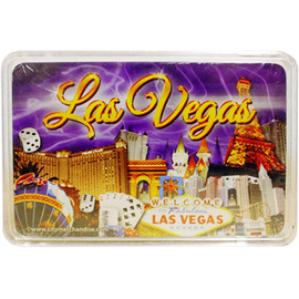 This deck features our Purple Sky design which shows Vegas Casinos on a colorful Purple Skyline background. New Playing Cards in a Clear Box for Storage.