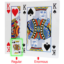 King of heart and King of Spade shown on this package for the enormous playing cards in comparison next to a deck of regular sized cards.