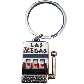 Metal Las Vegas Slot Machine Key Chain with working spinner in the middle.