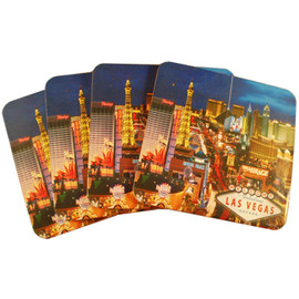 Set of 4 square Cork Coasters featuring our Popular Las Vegas Strip Design.