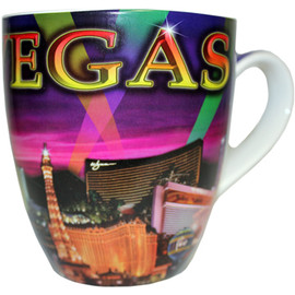 Large Las Vegas Mug souvenir Purple Spotlights - 18oz.