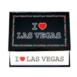 Memo Pad of White Paper held by it's Black Design I Love Las Vegas holder.
