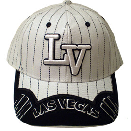 "White Baseball style cap with ""LV"" embroidered in white and outlined in Black. The hat's bill has Las Vegas embroidered in Black."