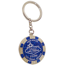 Metal Keychain designed to resemble a Las Vegas Royal Blue $10,000 Poker Chip.