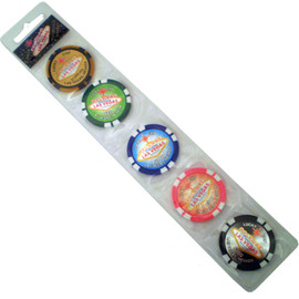 Las Vegas Magnetic Poker Chips-Set of 5 chips colorful and fun