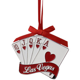 Metal Las Vegas Royal Flush Card Shape ornament; with a Red Ribbon.
