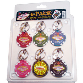 Packaged set of six (6) Las Vegas colorful Poker Chip Keychains.