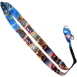 Colorful Las Vegas Lanyard with strong clip in our Las Vegas Blue Strip souvenir design.