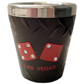 This Stainless Steel Las Vegas Shotglass has Red Dice with Rhinestones on it on a Black Background.