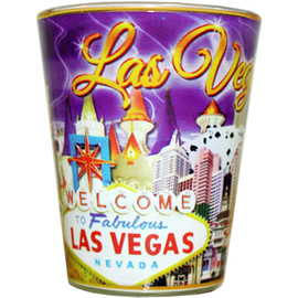 Glass Las Vegas shotglass with a full body Purple Sky wrap background.