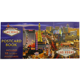 Rectangle Postcard Book. Cover shows a blue design with the Las Vegas Strip Casinos on it.