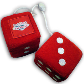Solid Red Plush Dice Pair. Las Vegas as the one pip.