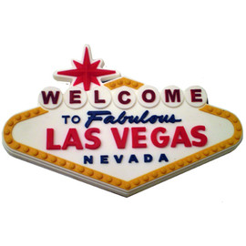 Las Vegas Souvenir Magnet Welcome Sign Design Rubber White Sign