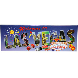 Las Vegas Magnet with View of FUN Vegas Icons on colorful Rectangle