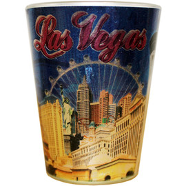 Glass Las Vegas shotglass with a full body Metallic wrap background, Las Vegas design all around it.
