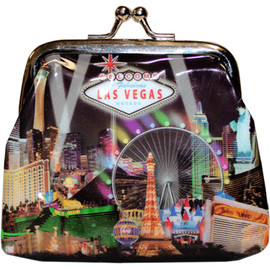 Metal snap closure on this black plastic Las Vegas Coin purse with our Black Spotlights design showcasing the Popular Las Vegas Casinos.