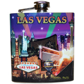 Metal Flask with purple hue sky and colorful spotlights shining bright on the Las Vegas Strip Casinos.