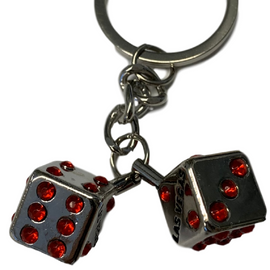Metal pair of Las Vegas Dice with Red Stone for the pips.