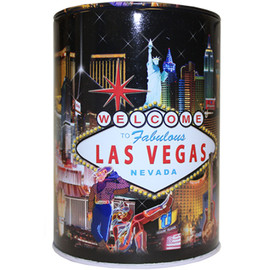 Tin bank in cylinder shape with colorful Hotel Collage Design all over it.