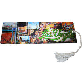 Bookmark with Mini Photos of  Las Vegas on it and white tassel.