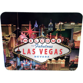 Las Vegas Hotel Collage Design on this Black Background Computer Mousepad.
