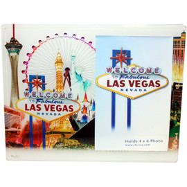 White Skyline background on this glass Photo Frame showcasing the Beautiful Las Vegas Casinos in full color for a pop of contrasting elements.