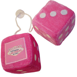 Hot Pink Plush Dice Pair. Las Vegas as the one pip.
