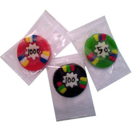 Individually wrapped colorful gummy poker chips. Shown in red, black, and green.