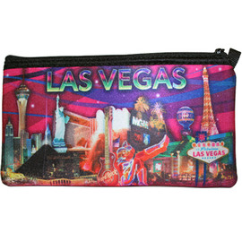 Colorful Pink Skies Print of Las Vegas Casinos with a Pink Background on this zippered Pencil or Cosmetic Carry Case.