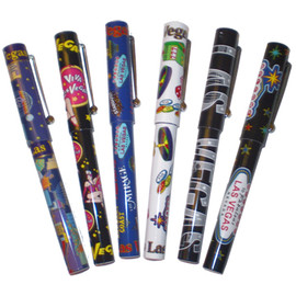 Set of 6 Capped Pens. Each has a different and colorful Las Vegas design on it.