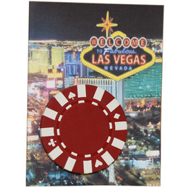 Mini Las Vegas Card, Blank Inside, Real Poker Chip Affixed to the outside Design.