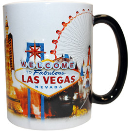 Oversized Las Vegas ceramic coffee mug with a Las Vegas Sign and collage design embossed with a vibrant strip background on a white mug, side view.